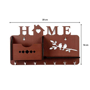 Sehaz Artworks Home Side Shelf Brown KeyHolder Wooden Key Holder (7 Hooks)