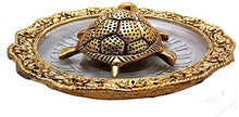 Load image into Gallery viewer, Shoppyana Metal Tortoise with Glass Plate,Tortoise for Good Luck Showpiece Gift Combo - Metal Feng Shui Tortoise Glass Plate,House Warming Gift,Feng Shui Tortoise for Good Luck 14x14x3 cm Golden