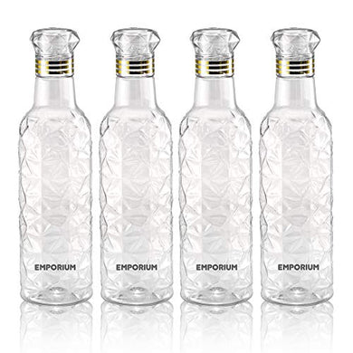 Emporium Plastic Fridge Water Bottle Set for Office, Sports, School, Travelling, Gym, Yoga - BPA and Leak Free & Unbreakable Bottle Color May Vary (Set of4)