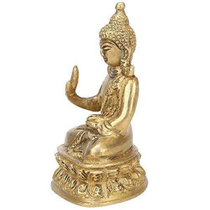 Kartique Brass Gautam Buddha Idol Handmade Statue Blessing Murti for Home Office Table Living Room Décor Religious Gift Feng Shui Good Luck Showpiece - Home Decor Lo