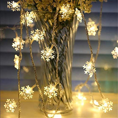 fizzytech Decorative Snowflake String LED Lights for Diwali Christmas Wedding (Warm White, 3 m)