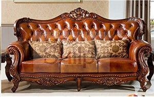 Shilpi Solid Sheesham Wood Sofa Set | Wooden Sofa Set | Living Room Furniture (3+2+1, Brown) Without Table - Home Decor Lo