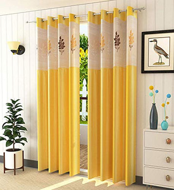 Galaxy Home Decor Floral Net Polyester 7 ft Door Curtains (Yellow) - Pack of 2