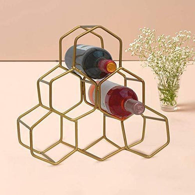 nestroots Iron Wine Rack Storage Stand for Storing Bottle for Home/Restaurant Mini Bar Counter or Cabinet/Table, Capacity 6 Bottles, Golden - Home Decor Lo