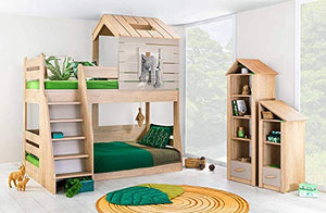 KIDOMATE My House Bunk Bed for Boys & Girls, Elegant Wood Finish Furniture That Suits Every Bedroom