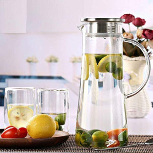 Akky Enterprise Glass Water Carafe Pitcher With Stainless Steel Infuser Lid and Spout - Heat Resistant Pitcher for Hot/Cold Water, Jug Bottle,Milk,Juice, Iced Tea (Glass, 1300ml),(1 pcs)