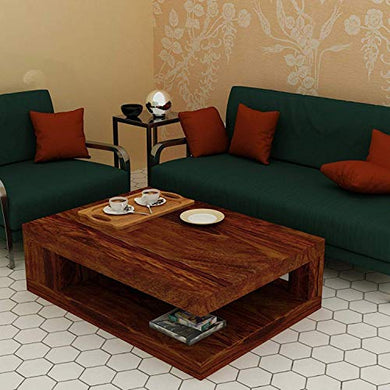 KendalWood Furniture Solid Wood Rectangle Shape Coffee Table for Living Room | Sofa Center Table - Natural Brown