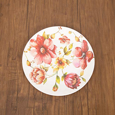 Home Centre Meadows-Malva Floral Print Dinner Plate - Red