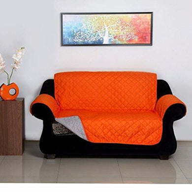 @home by Nilkamal Reversible Microfibre 2 Seater Sofa Cover - 60 GSM, Orange and Grey - Home Decor Lo