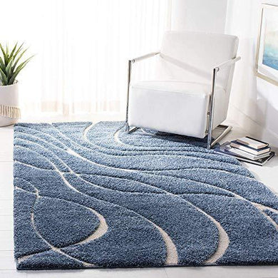 RN Home Furnishing Carpet Super Modern Shag Area Silky Smooth Rugs Fluffy Rugs Anti-Skid Shaggy Area Rug,Bedroom (3x5 feet, Blue) - Home Decor Lo