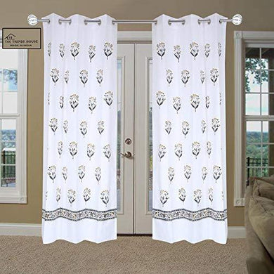 The Trendy House Cotton Hand Block Floral Print 7 ft Door Curtain -Set of 2 Pieces - Home Decor Lo