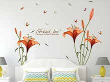 Load image into Gallery viewer, Amazon Brand - Solimo Wall Sticker for Bedroom (Blooming Lilies, ideal size on wall , 175 cm X 120 cm),Multicolor