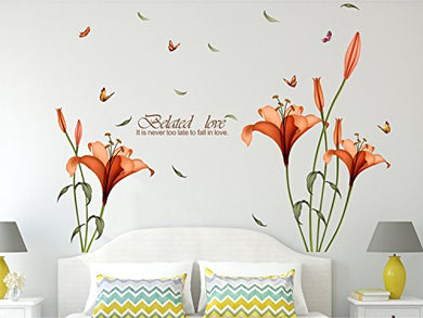 Amazon Brand - Solimo Wall Sticker for Bedroom (Blooming Lilies, ideal size on wall , 175 cm X 120 cm),Multicolor