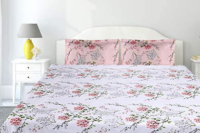 haus & kinder Victorian Summer Dream, 100% Cotton Double Bedsheet with 2 Pillow Covers,186 TC (White Pink: Pink)