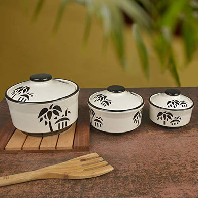 StyleMyWay Studio Pottery Handpainted Ceramic Serving Donga (Set of 3, White and Black Motif) | Dinner Serving Bowl Set | Ceramic Kitchen Bowl Set