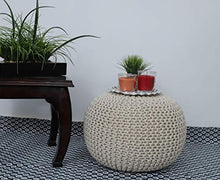 Load image into Gallery viewer, Fernish Decor Cotton Hand Knitted Pouf Ottoman Foot Stool for Bedroom, Living Room, 50x50x35 cm (Natural) - Home Decor Lo