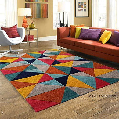 Zia Carpets Handmade Tuffted Pure Woollen Round Carpet for Living Room with 1.0