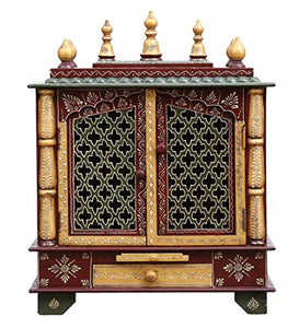 Wooden Temple/Home Temple/Pooja Mandir/Pooja Mandap/Temple for Home by Kamdhenu Art And Craft (Maroon)