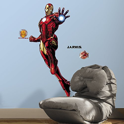 RoomMates Iron Man Peel And Stick Giant Wall Decals With Glow - RMK3172GM,Multicolor