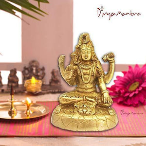 Divya Mantra Hindu God Shiva Shankar Bhagwan Mahayogi Idol Sculpture Statue Murti Brass Puja Room,Temple, Meditation, Office, Business, Home Decor Gift Collection Item/Product-Money, Good Luck -Yellow