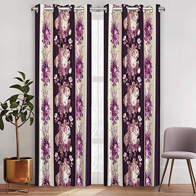 Amazon Brand - Solimo Melodeon Polyester Curtain, Door, 7 x 4 Feet (213 x 123 cm), Violet, Pack of 2