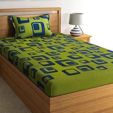 Home Ecstasy 100% Cotton bedsheets for Single Bed Cotton, 140tc Geometric Green Single bedsheet with Pillow Cover (4.8ft x 7.3ft)