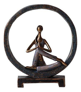 Polyresin Lady in Yoga Pose Showpiece for Home Decoration-Circle(Pose 5) 80007 - Home Decor Lo
