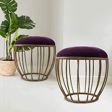 Nestroots Stools for Home Living Room | Ottoman Footstool Upholstered with Cushion Footrest Stool for Living Room -Designer Metallic Legs Added Stability (Dark Purple| Set of 2) - Home Decor Lo