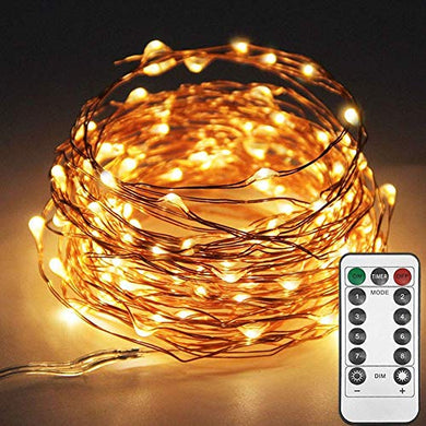 XERGY 33ft 100 LED Copper Wire Fairy String Lights 8 Modes USB Powered with Remote Control for Christmas Party Decoration-Warm White (Pack of 1)