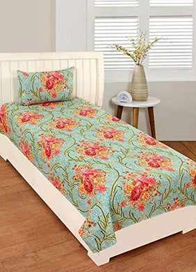 RD TREND Single Bedsheet(Size-60 X 90) with 1 Pillow Cover(Size-18 X 28) Green (Green, Single)