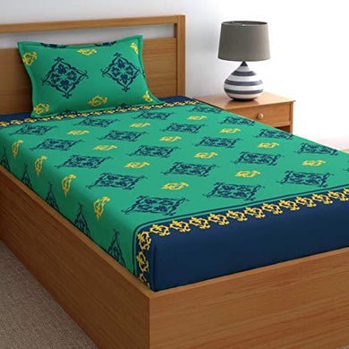Home Ecstasy 100% Cotton bedsheets for Single Bed Cotton, 140tc Ethnic Green Single bedsheet with Pillow Cover (4.8ft x 7.3ft) - Home Decor Lo