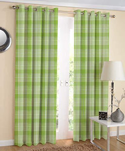 AIRWILL Designer Cotton Window Curtains (Green; 4ft Width and 5ft Length) -Pack of 2 Pieces - Home Decor Lo