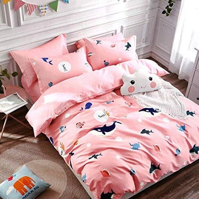 Sky Tex Pink Color Fishes Printed 300 TC Glace Cotton 3D Printed Single Bed Comforter Set (1 Comforter & 1 Single Bed Sheet with 1 Pillow Cover) (Buy This Comforter Get 1 N - 95 Mask Free)