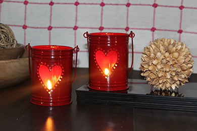 Hosley Set of 2, 4Inch Red Heart Shape Bucket, with Free 6 unscented tealight