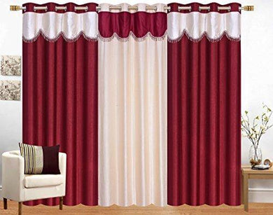 Srk Trendz 3 Piece Combo Polyester Eyelet Curtains Door (Maroon Cream, 4 x 7) - Home Decor Lo