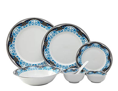 Hitkari Potteries Porcelain Dinnerware Set, 33-Pieces, White (HPC33-MARRAKECH)