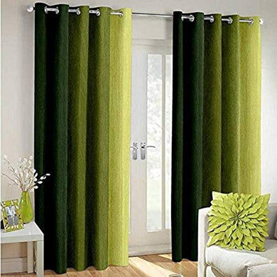 Polyresin Solid Grommet Door Eyelet Curtain, Door 7 Feet, Green, Pack of 2