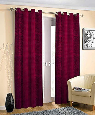 Inaayat Creations Polyester Pyramid Design Punching Heavy Long Crush 7 Feet Door Curtains (Maroon) - Set of 2 - Home Decor Lo