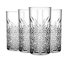 Load image into Gallery viewer, PrimeWorld Timeless Long Drink Glass Set of 6 pcs | Crystal Touch Designer| High Ball Tumbler |Height Approx 14.3 cm | 300 ML | for Water Juice Cocktail etc