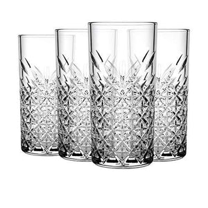PrimeWorld Timeless Long Drink Glass Set of 6 pcs | Crystal Touch Designer| High Ball Tumbler |Height Approx 14.3 cm | 300 ML | for Water Juice Cocktail etc