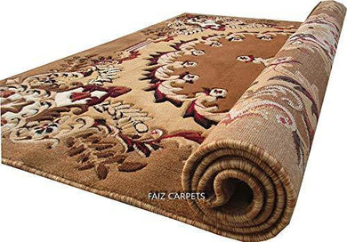 Faiz Carpets Beatiful Floral Design Velvet Touch Carpet for Living Room and Home with 1 inch Thickness - Gold (6 x 8 Feet) - Home Decor Lo