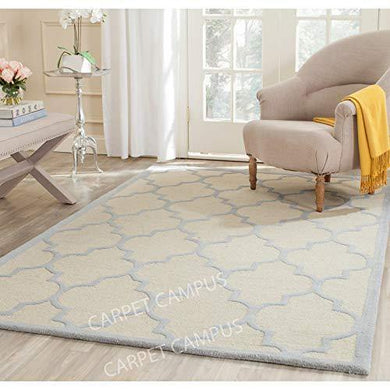 Carpet Campus Traditional Persian Geometric Modern Handmade Woolen Carpet Ivory & Light Blue 5 feet x 8 feet Carpets for Home-Living Room-Bedroom-Drawing Room-Floor and Also for Dining Hall. - Home Decor Lo
