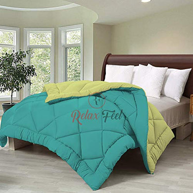 Relaxfeel 250 GSM Luxury 5 Star Microfibre Reversible Soft Plain Quilted 90x100 Inch Double Bed Comforter/Quilt/Duvet/Razai/Rajai (Parrot Green and Sea Green)
