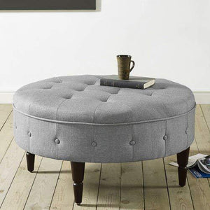 Lakdi-The Furniture Co. Fully Cushioned Synthetic Fibre Ottoman Grey with Solid Wood Legs (151850163_LightGrey) - Home Decor Lo