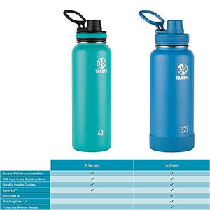 Takeya White Originals Vacuum-Insulated Stainless-Steel Water Bottle, 32oz