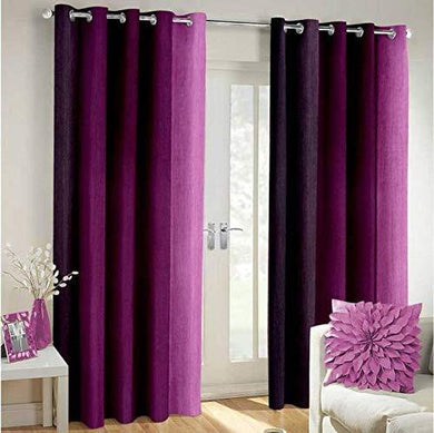 KRMA TextilesLONG Crush PATTA Eyelet Polyester Curtains for Door and Window only. Quantity :- 2 Piece, Colour :-Purple, Size :- 7FT - Home Decor Lo