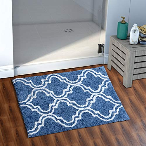 AEROHAVEN™ 100% Cotton Glorious Super Soft Moroccan Designer Anti Slip Bathmat (Blue, 40 x 60 cm)
