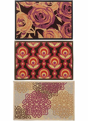 BIANCA Tough-Thin Printed Door Mat with Non-Slip Rubber Backing -3pc Set- (splender) Abstract-Multi