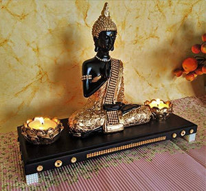 Sacred Blessings Decorative showpiece Home Office Table Living Bed Room House Warming Gift (28 cm X 11.5 cm X 22 cm, Black & Gold) TLight Showpiece TeaLight Gift House - Home Decor Lo