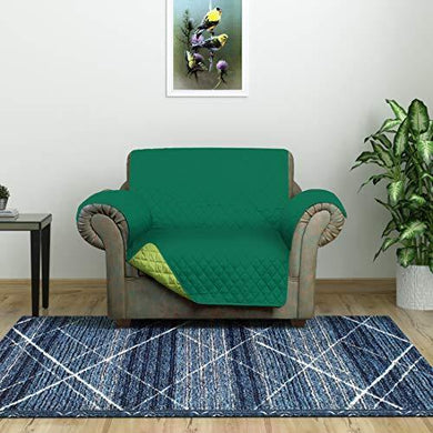 @home by Nilkamal Reversible 1 Seater Polyester Sofa Cover, Emerald & Light Green - Home Decor Lo